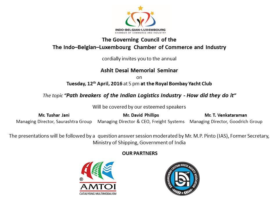Ashit Desai Memorial Seminar - 12th April, 2016